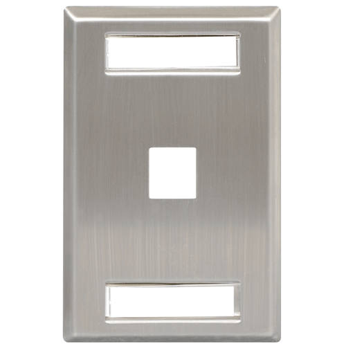 Station ID Stainless Steel Faceplate with 1 Port for EZ/HD Style in Single Gang