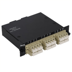 LC-MPO Fiber Optic LGX Cassette with Beige Multimode Adapters and 24 OM2 Fibers