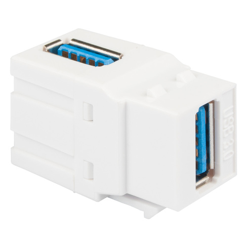 USB 3.0 90 Degree Modular Coupler in White for HD Style