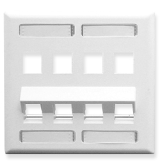 Angled Station ID Faceplate with 4 Flat Port and 4 Angled Ports for EZ/HD Style in Double Gang in White