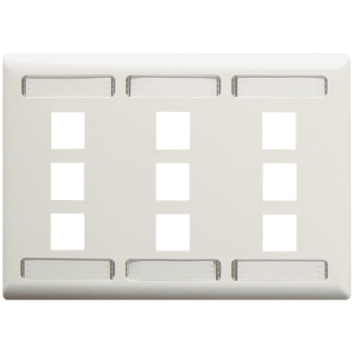 Station ID Faceplate with 9 Ports for EZ/HD Style in Triple Gang