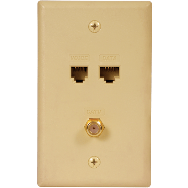 Faceplate IDC with RJ-11 6P6C, RJ-45 CAT5e Data, and F-Type