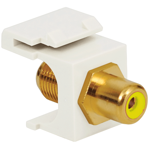 RCA to F-Type Modular Jack with Yellow Insert and Gold Plated Connector in HD Style