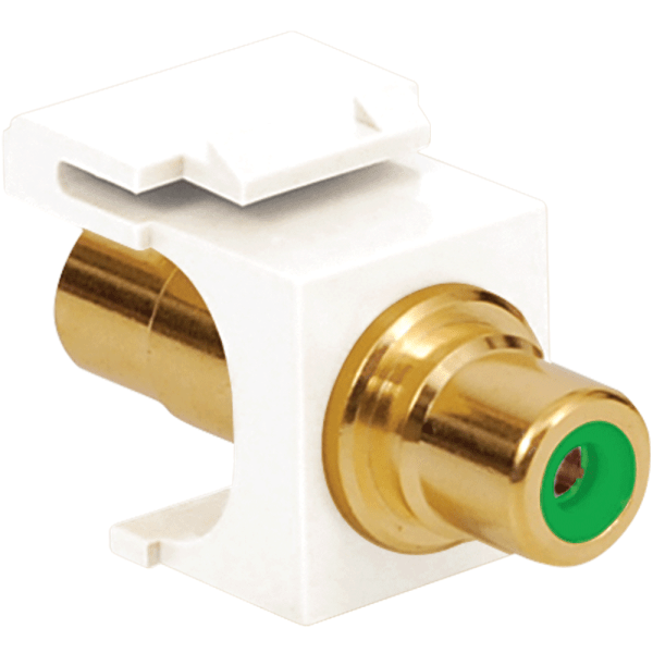 RCA to RCA Modular Jack with Green Insert and Gold Plated Connector in HD Style