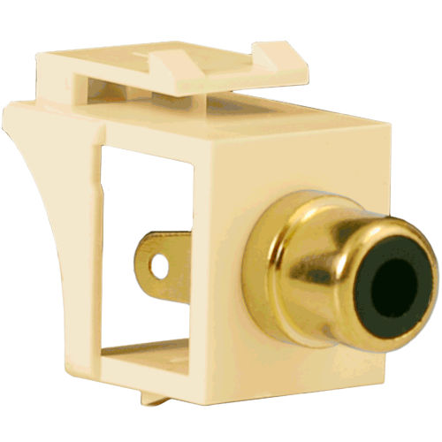 RCA to Solder Tail Modular Jack with Black Insert and Gold Plated Connector in HD Style