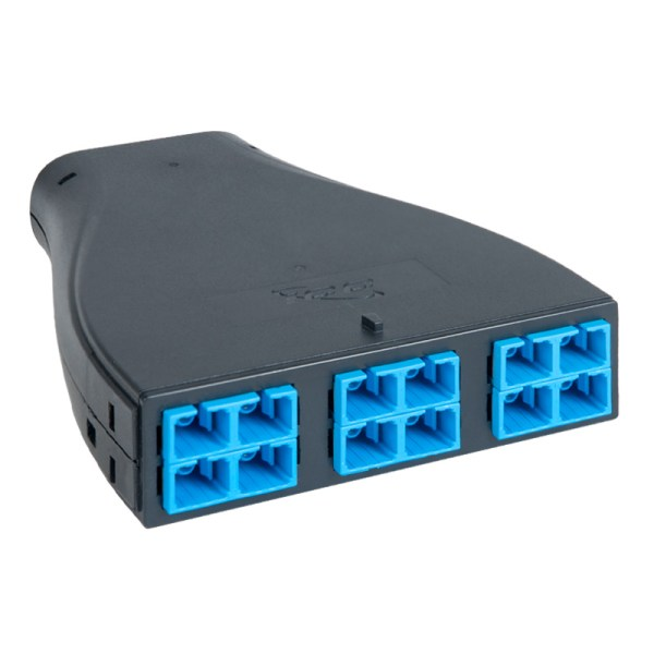 Plug and Play SC-MPO Fiber Optic Cassette with Blue Singlemode Adapters and 12 OS1 Fibers