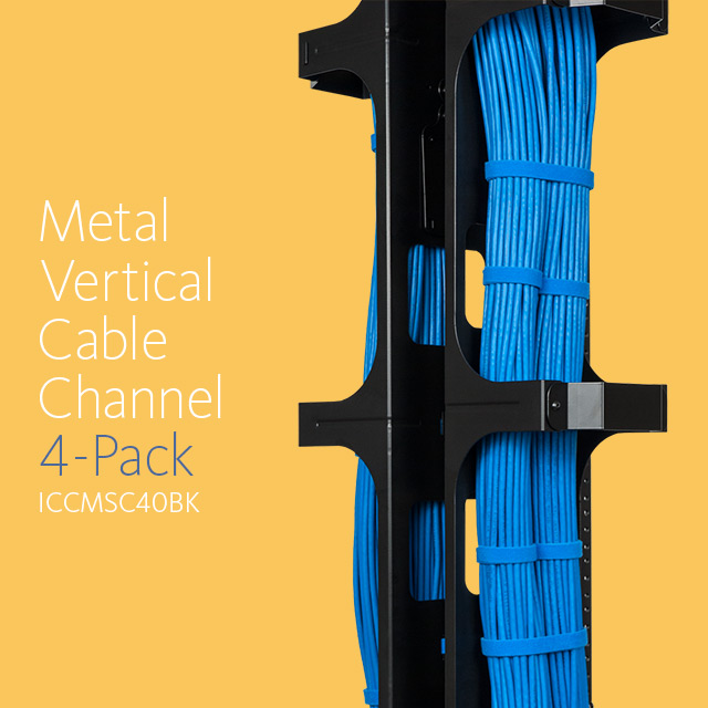 Metal Vertical Cable Management Channel 4-Pack ICCMSC40BK