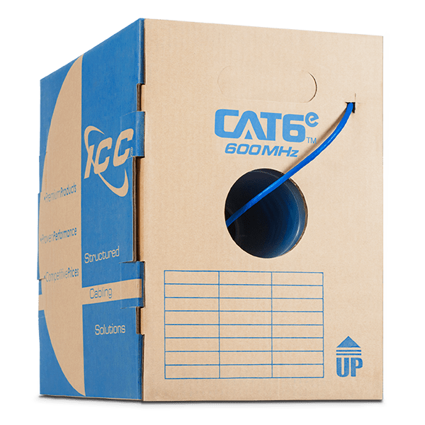 Box of CAT6e Blue Riser Bulk Cable