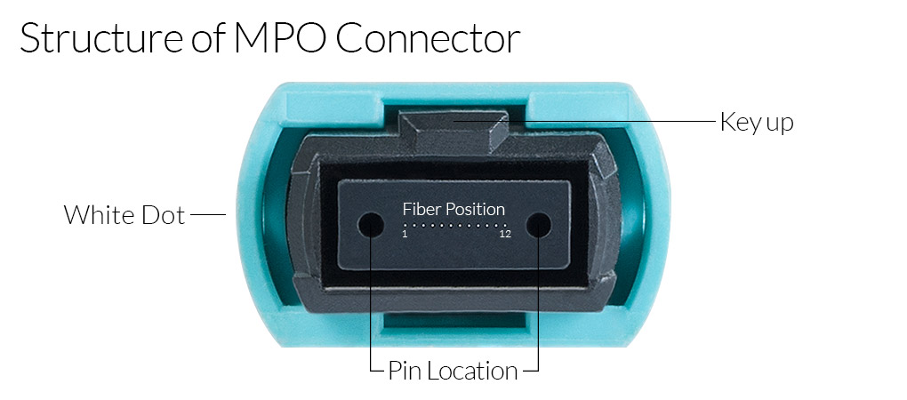 Structure of a key up MPO connector. Parts include, white dot, fiber position 1 to 12, and pin location