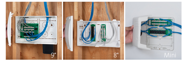 Comparison of Plastic Voice and Data Residential Wiring Enclosures 9 inch, 8 inch, and Mini