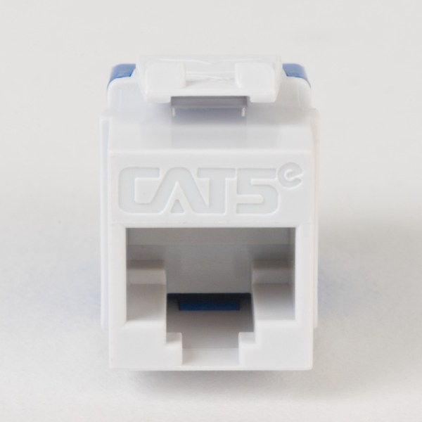 CAT5e RJ45 White Keystone Jack HD Front IC1078F5WH