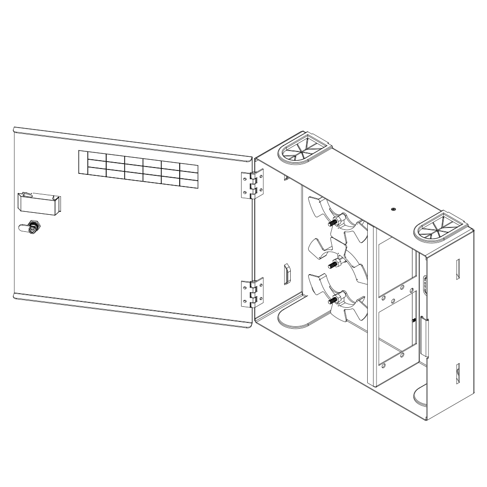 HD Fiber Optic Wall Mount Enclosure with 4 Slots for Adapter Panels or Cassettes