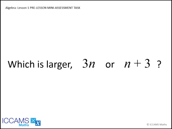 Algebra: Lesson 1 Pre-Lesson Mini-Assessment Task