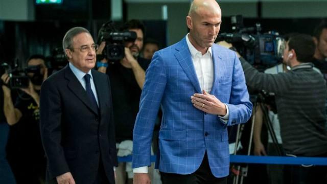 Real Madrid president Florentino Perez and manager Zinedine Zidane