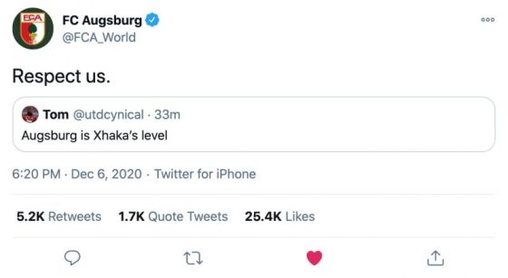 The Augsburg troll Xhaka after the defeat of the Spurs