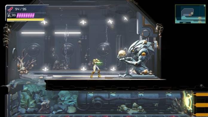 Statue of Chojo with gravity suit at Metroid Dread.