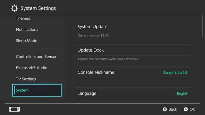 The Settings screen on the Nintendo Switch.