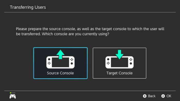 Source console and target console screen on Nintendo Switch.