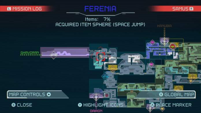 Map of Space Jump in Metroid Dread.