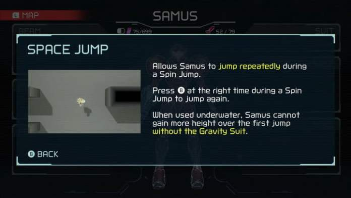 Space Jump from Metroid Dread.