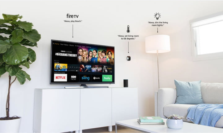 Alexa for Residential program is illustrated in a living room setup featuring FireTV, a smart thermostat, and smart lights being controlled by Alexa.