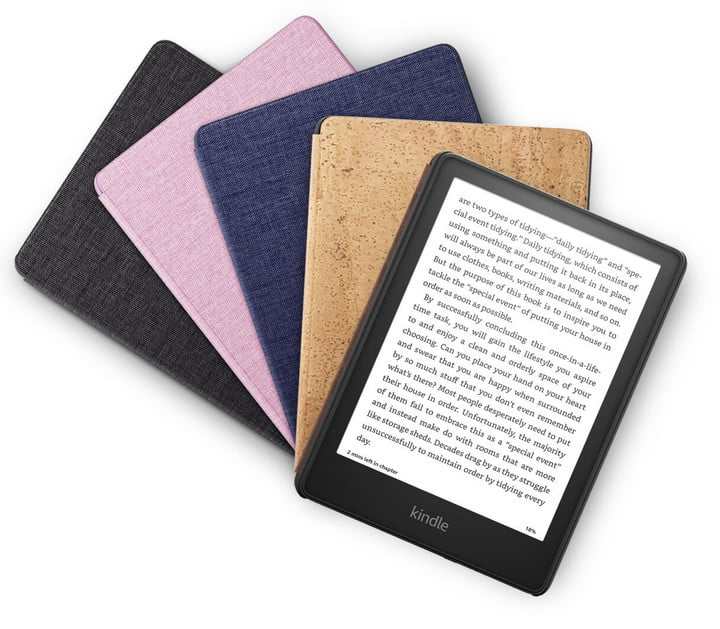 The Amazon Kindle Paperwhote 2021 edition and its cover cases.
