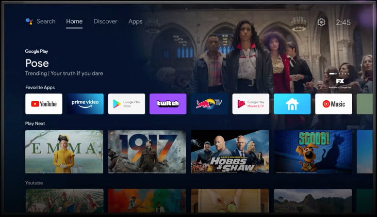 Android TV home screen.
