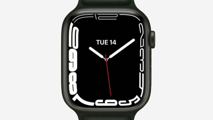 Contour watch face on Apple Watch Series 7.
