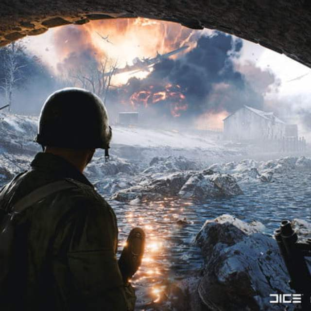 Battlefield soldiers looking as a plane bombs houses in the distance.