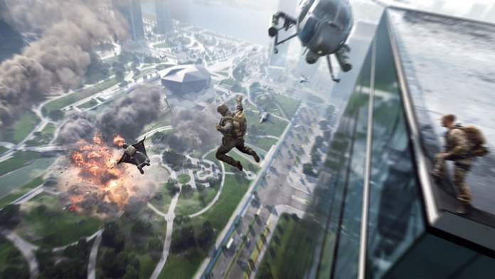 Soldiers jumping off a building in Battlefield 2042.