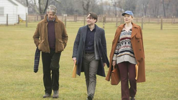 Connor, Roman and Shiv Roy walking out of a scene in Season 1 of Succession.