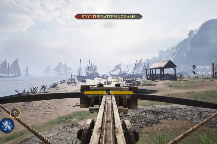 First person using a ballista in Chivalry 2.