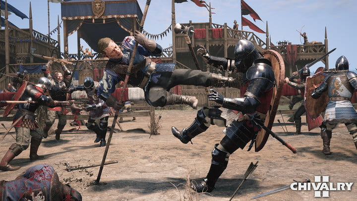 A player drop-kicking another player in Chivalry 2.