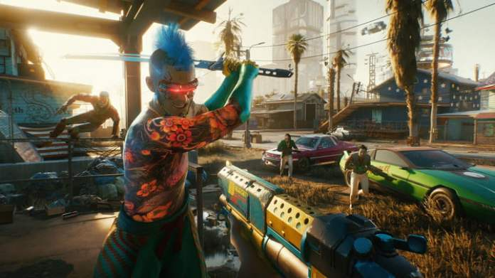 An enemy wields a sword at the main character of Cyberpunk 2077.