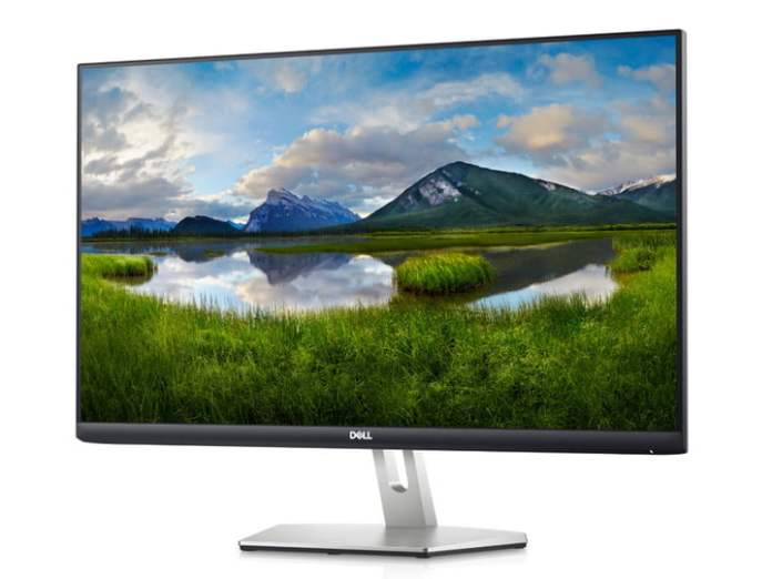 The 27-inch Dell S2721H monitor with a nature scene on the screen.