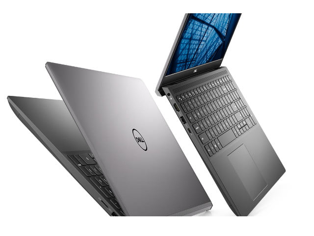 Dell Vostro 7500 Laptop shown with screen open and mostly closed on a white background