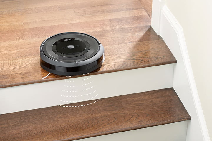 Cliff sensors on iRobot Roomba E5 prevents falling off stairs.