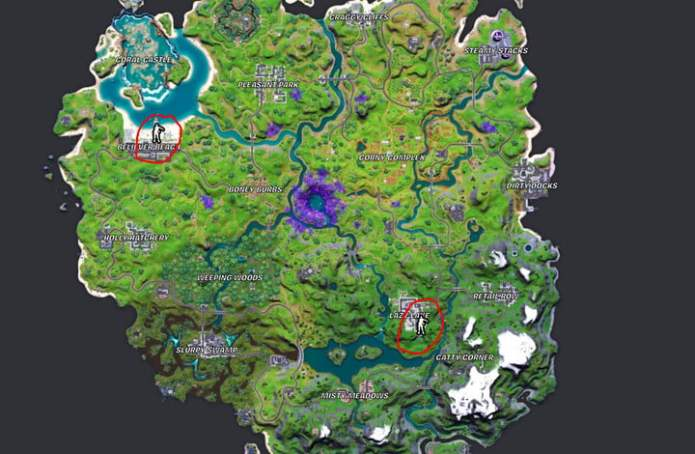 Map of Believer Beach and Lazy Lake in Fortnite.