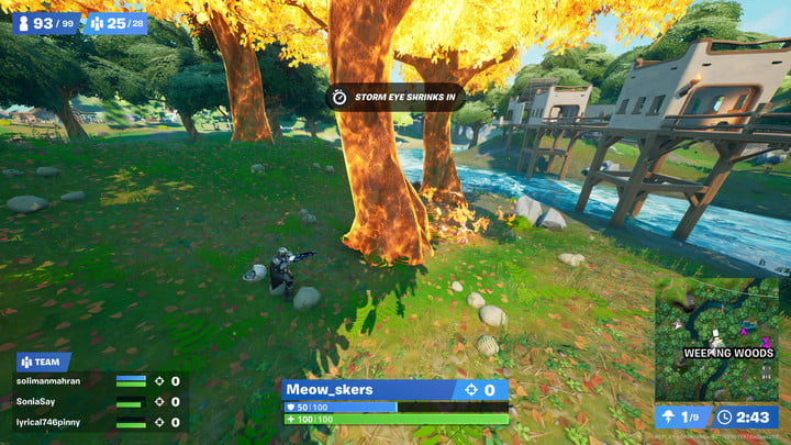Igniting a player in Fortnite.