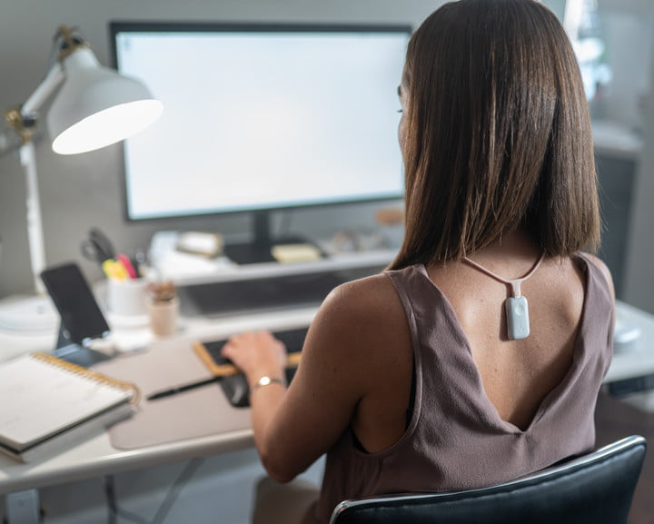 Upright GO S wearable worn around the neck