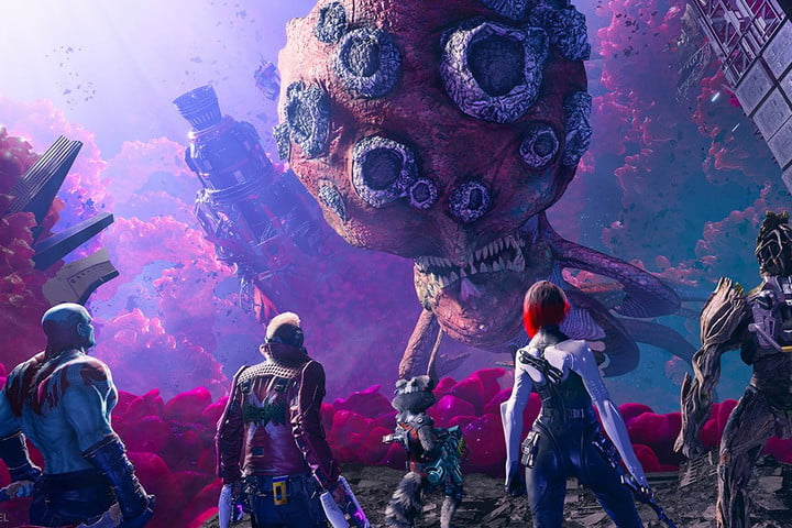 The Guardians of the Galaxy stare at a giant spore.