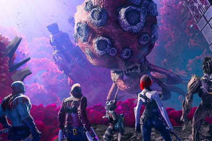 The Guardians of the Galaxy is facing a giant alien.