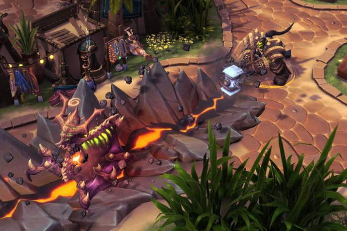 An orc character brings his hammer to the ground in Heroes of the Storm.