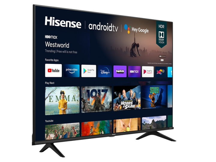 A 50-inch Hisense 4K TV showing the Android TV interface.