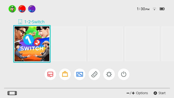 Home screen on Nintendo Switch.