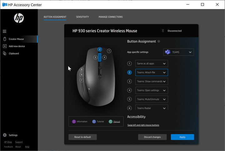 HP Accessory Center app is used to program the buttons of the 930 series Creator Wireless Mouse.