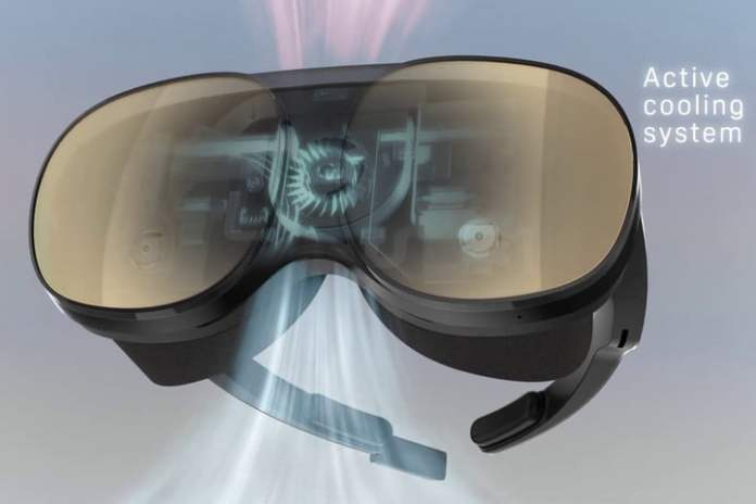 Active cooling system and onboard processing on the HTC Vive Flow standalone VR headset.
