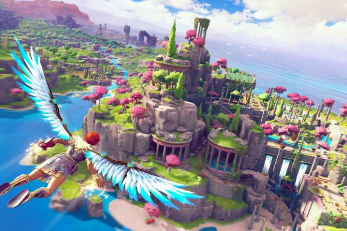 A player flying over rocks in Immortals.