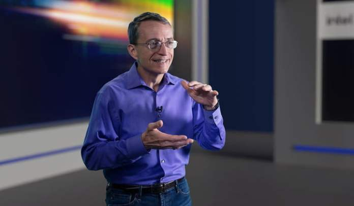 Intel CEO presenting at the Intel Accelerated event.