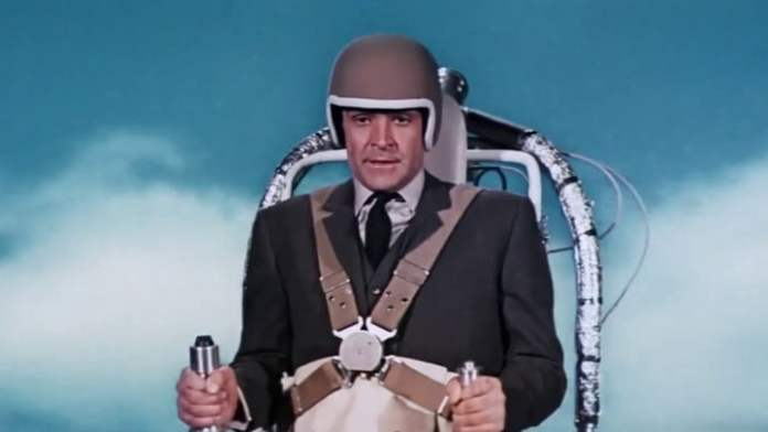 Sean Connery's James Bond uses his jetpack in Thunderball.